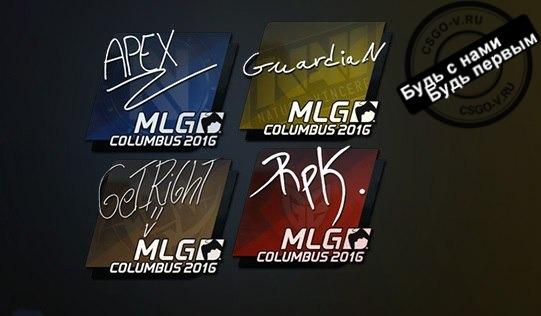 Mlg columbus 2016 наклейки-автографы